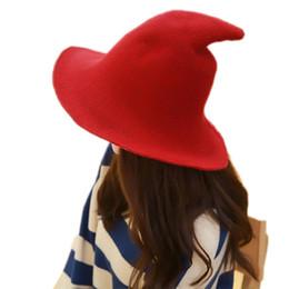 U шляпы онлайн-Fisherman Cap Женская мода Witch Pointed Hat Женщины U Вдоль овечьей шерсти Cap Вязание Hat Указанный шпиль вязать