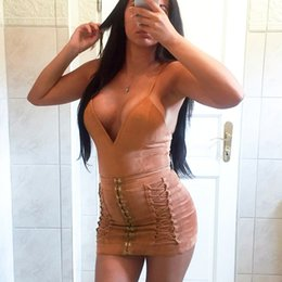 Wholesale Sexy Harness Dress - 2017122119 Leather suede lace up sun dress Women sexy v neck harness bodycon dress Winter party fitness christmas dress vestidos