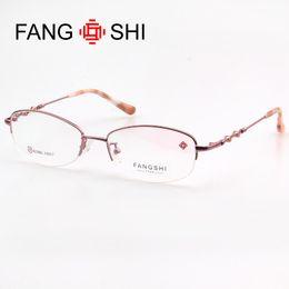 FANG SHI Marca Rosa Occhiali Montatura da vista Occhiali Montature Donne Moda Occhiali Mezza Rimless oculos feminino 92386L da