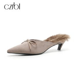 Wholesale Natural Rubber Flooring - CZRBT Women Fashion Low Heels 4cm Outside Slippers With Geniune Sheep Suede and Natural Rabbit Soft Fur Luxury Brand Shoes Women