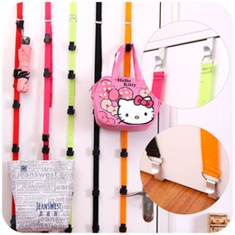 Wholesale Plastic Clothes Hangers Free Shipping - High Quality Multi-functional Adjustable Over Door Straps Hanger Hat Bag Coat Clothes Rack Organizer Hooks,Free shipping.