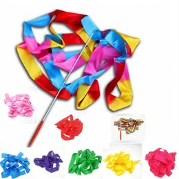 Wholesale inflatable toys for women - Dance Wand Ballet Ribbon Stick Rhythmic Gymnastics Fitness Twirling Rod For Women Girls Colorful Hot Sale 1 3fh WW