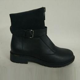 47ef39ff852b 2019 reißverschluss vorne stiefeletten AIMEIGAO New Zipper Ankle Boots  Damen Weiche PU Leder Stiefel Low Heel
