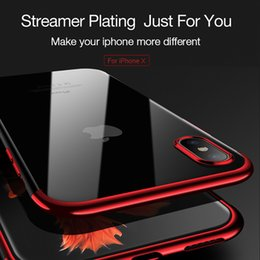 Wholesale Iphone Covers Free Shipping - New For iPhone x 8Plus iPhone 7 Case Plating TPU Transparent Silicone Protective Cover with Retail Package Free Shipping