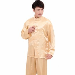 Wholesale Xxl Pajamas Men - Novelty Embroidery Dragon Men Pajamas Suit Autumn New Long Sleeve Sleepwear Rayon Casual Lounge Pyjamas Sets M L XL XXL