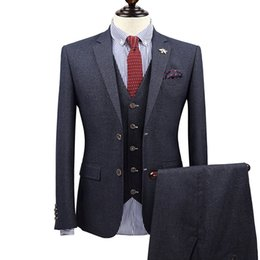 Пальто мальчика онлайн-New  clothing business fromal men suts tuxedo coat/vest/pant slim fit boy prom suits groom wedding suits single breasted