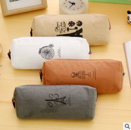 paris pens Promo Codes - Simple Creative Paris Style Pattern Pen Pencil Case Retro Towers Linen for Boys and Girls Pen Case Kids Gift Stationery Supplies