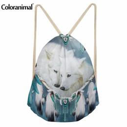 ragazzi freddi di zaini Sconti Coloranimal White Purple Drawstring Bag Zaino 3D Cool Animal Wolf Stampa donna Casual Mini Zaino Boy Girl Schoolbag