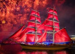 subiu novas fotos Desconto Strass praça cheia de diamantes bordados paisagem barco à vela vermelha diy diamante pintura ponto cruz kit casa decoração de mosaico zxh1281
