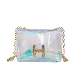 package tie UK - 2018 spring and summer new transparent beach bag chain crystal package small square package laser package turn lock shoulder Messenger bag