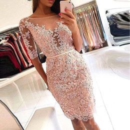 Discount sexy long sleeved backless red dress - Bodice Knee Length Cocktail Dresses 2018 See Through Half Sleeved Backless Applique Lace Short Prom Gowns BA9826