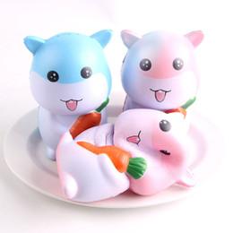 Wholesale cute hamsters - Jumbo Kawaii Cute Squishy Hamster  Mouse Hold Carrot Bread Cake Super Soft Slow Rising Cartoon Sweet Scented Kid Toys KKA3958