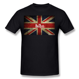 Wholesale Long T Shir - Popular Adult Percent Cotton the-beatles in British Flag Tee Shirt Adult Crewneck Blue Short Sleeve T-Shirt Camiseta Big Size Funny Tee Shir