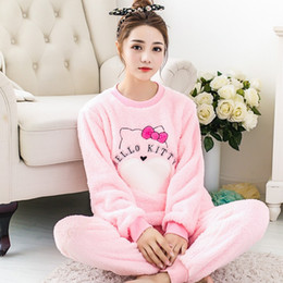 hot sale Women Pyjama Sets Thicken Flannel Pajama Sets winter cartoon Thick  Warm Lovely pink Costume Nightgown Sleepwear suits bf96a824f