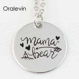 Wholesale Charm Discs - whole saleWholesale MAMA BEAR Engraved Disc Pendant Charms Necklace Mother Day Gift Jewelry 10Pcs Lot,#LN141