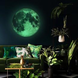 tuiles de son Promotion 30cm grande lune lueur dans l'obscurité lumineuse Wall Sticker bricolage Living Home Decor en stock