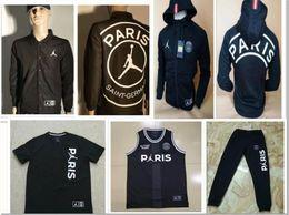 Jerseys polo online-PSG POLO camiseta de fútbol 2019 Paris Windbreaker MBAPPE 18 19 psg Survetement champions Fútbol sudadera con capucha tamaño entrenamiento S-XL