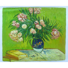 livros de pinturas a óleo Desconto Arte moderna VASO COM OLEANDERS E LIVROS, lona de pinturas a óleo de Vincent Van Gogh pintados à mão decoração da parede
