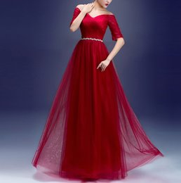 Wholesale pink eye photos - Eye Catching Evening Dresses Pleats Tulle Half Sleeves Prom Dress Sparkling Sash Lace-up with Zipper Prom Dresses Dark Red,Royal Blue Cheap