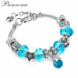 Wholesale Vintage Porcelain Bracelet - Vintage Silver Charm Bangle & Bracelet with Ball Pendant & Colorful Crystal Bracelets for Women Pulseira Feminina AA194