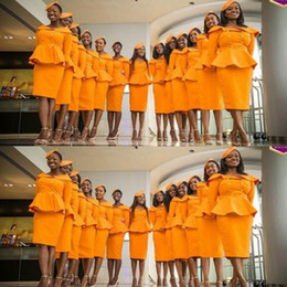 Wholesale uniform dresses women - Unique Design Bridesmaid Dresses For Wedding Orange Color Stewardess Uniform Knee Length Maid Of Honor Dress Women Formal Party Dress