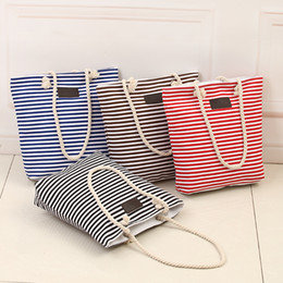 striped cotton canvas tote bags Promo Codes - New Cotton Canvas Summer Beach Bag Ladies Shoulder Bags Women Tote Bags Large Female Handbags Casual Striped-15