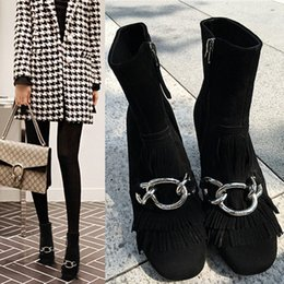 22e56474107e 2019 Blue Black Tassel Fringe Women s Boots High chunky heel Silver Chains  T Show Booties