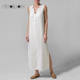 83b0611d7f57 3XL 4XL 5XL Plus Size Vintage Cotton Dress Women Maxi Long Dress Sleeveless  Split Summer 2018 Oversized Loose Casual oversized maxi dress for sale