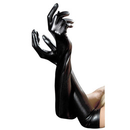 Wholesale cosplay faux leather - Adult Sexy Elbow Lady Gloves Black Exotic Appeal Gloves Fetish Faux Leather Clubwear Catsuit Cosplay Costumes Accessories