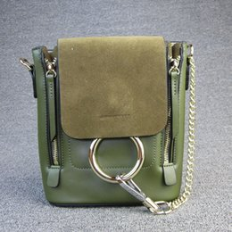 Wholesale Orange Buckets - New Beautiful Fashion Style Bucket Bag Genuine Leather Backpack Women Chain Backpacks Cover Back Pack With Metal Ring For Lady W0850