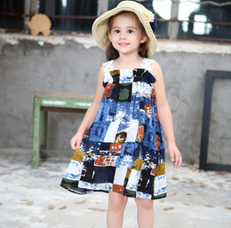 Wholesale Children Beach Paintings - Children summer dresses girls ink painting bohemia dresses kids lace embroidery suspender beach holiday dress girl princess dress Y1011