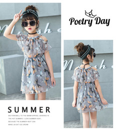 Wholesale Teenagers Girls Clothes - Summer kids chiffon dresses for girls baby girl beach dress teenager princess kids clothing infant floral print child clothes