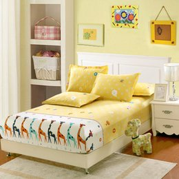 Wholesale Full Size Mattress Cover - Yellow giraffe bedding for adult children Bed Covers Mattress Cover fitted Sheet pillows 100% Cotton twin full queen king size