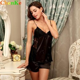 ChenKe Two Piece Pajamas Sets Lace Detail Women Sleepwear Silk Pajamas Sexy  Nightwear Women Summer Small Bow Homewear 2b3628448