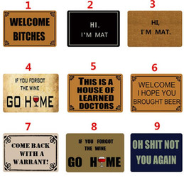 Wholesale Funny Mats - 9 Styles 40*60cm Letter Printed Carpets Funny Outdoor Mat Floor Mats Design Personality Entrance Door Door Mats CCA9160 30pcs