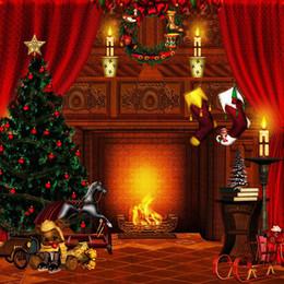 Luci dell'albero di natale della candela online-Coperta di Natale Xmas Party Fondale Stampato Rosso Tende Garland Calzini Candele Luce Giocattoli Albero di Natale Bambino sfondo