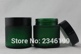 контейнеры для косметики из синего стекла Скидка 50 г 50 мл зеленый синий цвет матовое стекло бутылка с черной крышкой, пустой косметический контейнер упаковка стеклянная банка, 10 шт. / лот