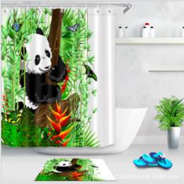 2019 pintura de bambu da arte chinesa Panda Bambu Cortina De Chuveiro e Tapete Set Pintura Chinesa Arte À Prova D 'Água Tecido Cortina Do Banheiro Para Produtos de Banho pintura de bambu da arte chinesa barato