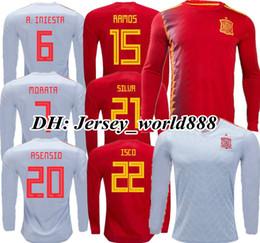 Wholesale spain long sleeve - TOP QUALITY 2018 World Cup MORATA ASENSIO Spain red home soccer jersey Long sleeves ISCO A.INIESTA SILVA RAMOS Espana away football shirts