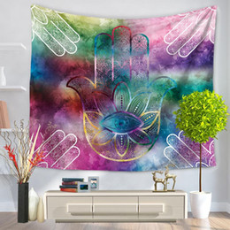 asciugamano artistico Sconti Art abstract palm Tapestry Wall Hanging Punk Cross Pitctures Wall Arazzo Floral Fashion Women Beach Towel Halloween drop ship