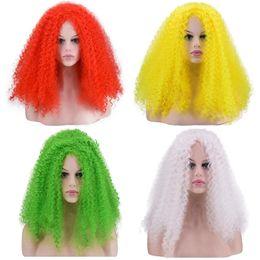 2019 peruca branca afro Amarelo / Verde / ouro / vermelho / branco Sexy Mulheres Cosplay Perucas 20