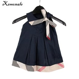 Милый ребенок девочка одежды плед онлайн-Xemonale Toddler Girls Dresses 2018 Summer Dress Baby Clothing Coon Cute Casual Plaid Princess Dress Kids Clothes Costumes