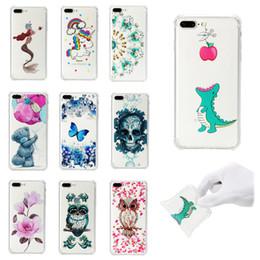 2020 iphone чехол прозрачный цветной Мягкая крышка TPU для iPhone 7 Plus Case Coque прозрачный цветной рисунок противоударный чехлы бабочка череп для iPhone 8 Plus дешево iphone чехол прозрачный цветной