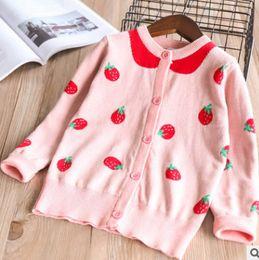 Wholesale Knit Strawberry - Kids sweater cardigan 2018 spring new girls strawberry knitting outwear children long sleeve cardigan girl cotton pink princess tops R2127