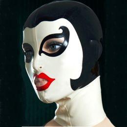 Argentina Nuevos productos sexy mujeres mujeres Latex drama teatral dominó Máscara hecha a mano Campanas volver cremallera personalizar tamaño Fetiche traje zentai Suministro