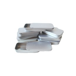 Wholesale Blank Jewelry Square - WB200-71 One Small 10ml Jewelry Blank Silver Color Sliding Lid Square Aluminum Tin