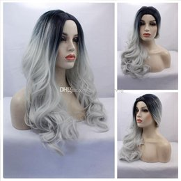 Wholesale Cosplay Grey Hair - Synthetic Gray Lace Wig Glueless Ombre Tone Color Black And Silver Grey Heat Resistant Hair Cosplay Party Wigs Natural Body Wave Gray Wigs