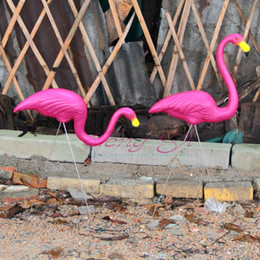 Wholesale Decorated Dresses - 1 Pair Pink Plastic Flamingos Garden Courtyard Lawn Decoration Wedding Party Jardin Landscape Dressing Decorated Ornaments