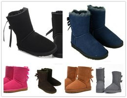 Wholesale Thick Tube Top - Top quality Free shipping 2017 new Australian snow boots thick leather bow in the tube snow boots cotton shoes