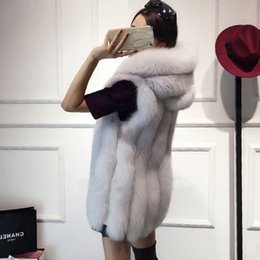 Wholesale Jacket Rabbit Fur Hoods - Plus Size 6XL Fur Hood Vest Women Faux Fox Fur Vest Striped Long Gilet Ladies Sleeveless Rabbit Coat Winter Jacket